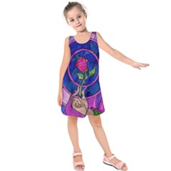 Enchanted Rose Stained Glass Kids  Sleeveless Dress by Onesevenart