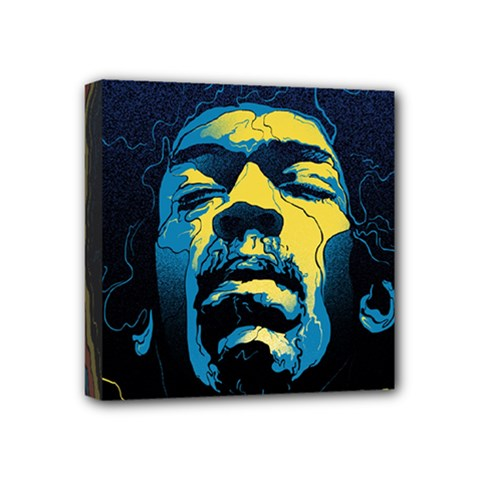 Gabz Jimi Hendrix Voodoo Child Poster Release From Dark Hall Mansion Mini Canvas 4  X 4  by Onesevenart