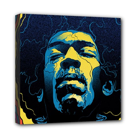 Gabz Jimi Hendrix Voodoo Child Poster Release From Dark Hall Mansion Mini Canvas 8  X 8  by Onesevenart