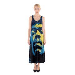 Gabz Jimi Hendrix Voodoo Child Poster Release From Dark Hall Mansion Sleeveless Maxi Dress by Onesevenart