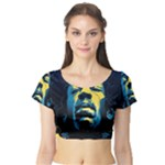 Gabz Jimi Hendrix Voodoo Child Poster Release From Dark Hall Mansion Short Sleeve Crop Top (Tight Fit)