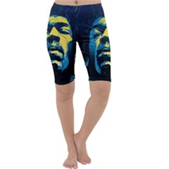 Gabz Jimi Hendrix Voodoo Child Poster Release From Dark Hall Mansion Cropped Leggings  by Onesevenart
