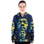 Gabz Jimi Hendrix Voodoo Child Poster Release From Dark Hall Mansion Women s Zipper Hoodie