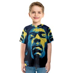 Gabz Jimi Hendrix Voodoo Child Poster Release From Dark Hall Mansion Kids  Sport Mesh Tee by Onesevenart