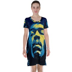 Gabz Jimi Hendrix Voodoo Child Poster Release From Dark Hall Mansion Short Sleeve Nightdress by Onesevenart