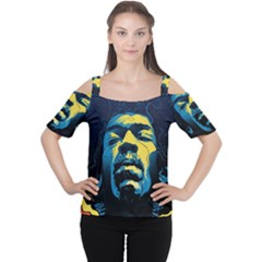 Gabz Jimi Hendrix Voodoo Child Poster Release From Dark Hall Mansion Women s Cutout Shoulder Tee by Onesevenart