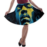 Gabz Jimi Hendrix Voodoo Child Poster Release From Dark Hall Mansion A-line Skater Skirt