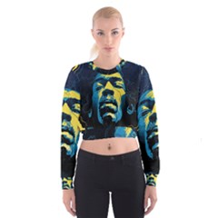 Gabz Jimi Hendrix Voodoo Child Poster Release From Dark Hall Mansion Women s Cropped Sweatshirt by Onesevenart