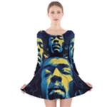 Gabz Jimi Hendrix Voodoo Child Poster Release From Dark Hall Mansion Long Sleeve Velvet Skater Dress
