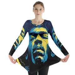 Gabz Jimi Hendrix Voodoo Child Poster Release From Dark Hall Mansion Long Sleeve Tunic  by Onesevenart