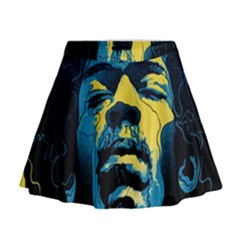 Gabz Jimi Hendrix Voodoo Child Poster Release From Dark Hall Mansion Mini Flare Skirt by Onesevenart