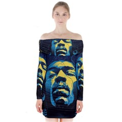 Gabz Jimi Hendrix Voodoo Child Poster Release From Dark Hall Mansion Long Sleeve Off Shoulder Dress by Onesevenart