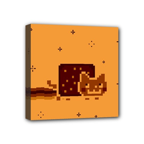 Nyan Cat Vintage Mini Canvas 4  X 4  by Onesevenart