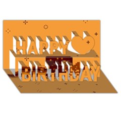 Nyan Cat Vintage Happy Birthday 3d Greeting Card (8x4) by Onesevenart
