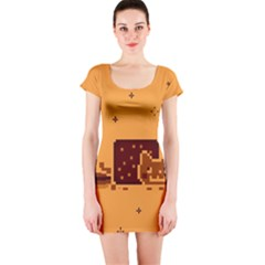 Nyan Cat Vintage Short Sleeve Bodycon Dress by Onesevenart
