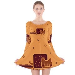 Nyan Cat Vintage Long Sleeve Velvet Skater Dress by Onesevenart