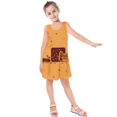 Nyan Cat Vintage Kids  Sleeveless Dress by Onesevenart
