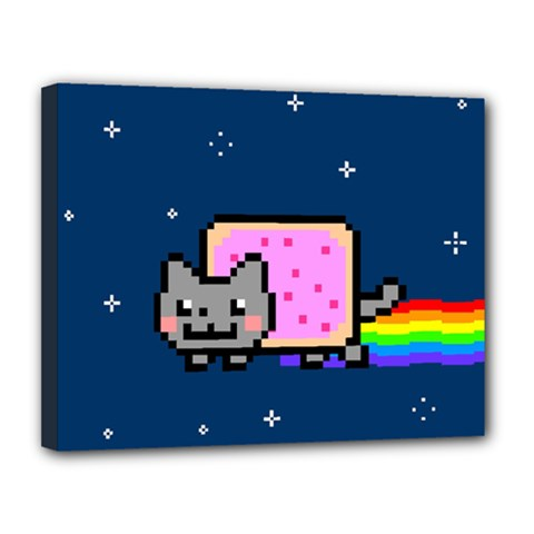 Nyan Cat Canvas 14  X 11  by Onesevenart