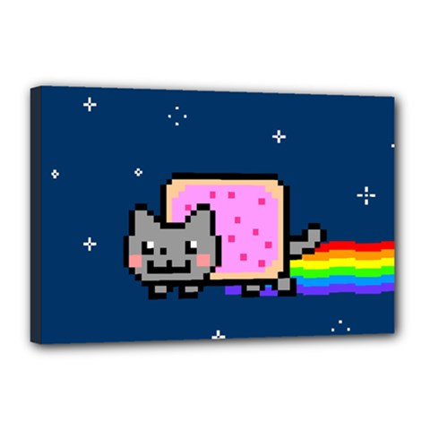 Nyan Cat Canvas 18  X 12  by Onesevenart