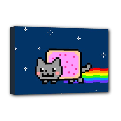 Nyan Cat Deluxe Canvas 18  X 12   by Onesevenart
