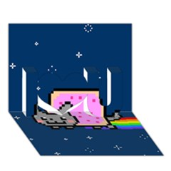 Nyan Cat I Love You 3d Greeting Card (7x5) by Onesevenart