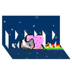 Nyan Cat Mom 3d Greeting Card (8x4) by Onesevenart