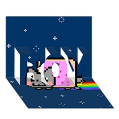Nyan Cat Boy 3d Greeting Card (7x5) by Onesevenart