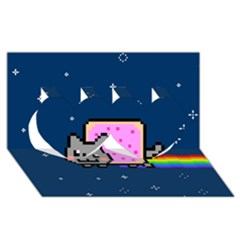 Nyan Cat Twin Hearts 3d Greeting Card (8x4) by Onesevenart