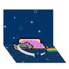 Nyan Cat Circle Bottom 3d Greeting Card (7x5) by Onesevenart