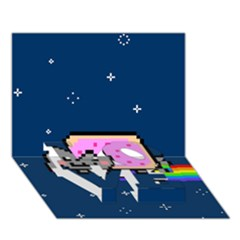 Nyan Cat Love Bottom 3d Greeting Card (7x5) by Onesevenart