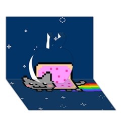 Nyan Cat Apple 3d Greeting Card (7x5) by Onesevenart