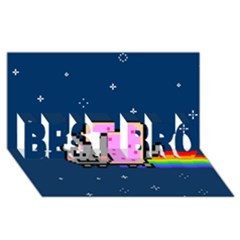 Nyan Cat Best Bro 3d Greeting Card (8x4) by Onesevenart