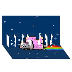 Nyan Cat Best Sis 3d Greeting Card (8x4) by Onesevenart