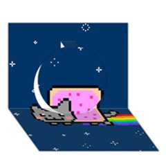 Nyan Cat Circle 3d Greeting Card (7x5) by Onesevenart