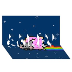Nyan Cat Sorry 3d Greeting Card (8x4) by Onesevenart