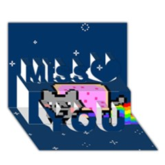 Nyan Cat Miss You 3d Greeting Card (7x5) by Onesevenart