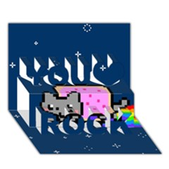 Nyan Cat You Rock 3d Greeting Card (7x5) by Onesevenart