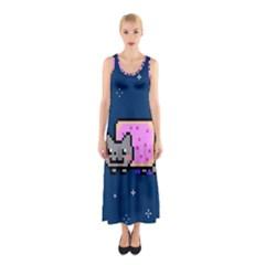Nyan Cat Sleeveless Maxi Dress by Onesevenart