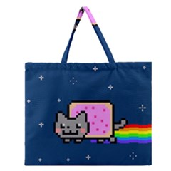 Nyan Cat Zipper Large Tote Bag by Onesevenart