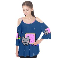 Nyan Cat Flutter Tees by Onesevenart