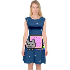 Nyan Cat Capsleeve Midi Dress by Onesevenart