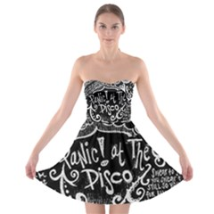 Panic ! At The Disco Lyric Quotes Strapless Bra Top Dress by Onesevenart