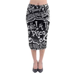 Panic ! At The Disco Lyric Quotes Midi Pencil Skirt by Onesevenart