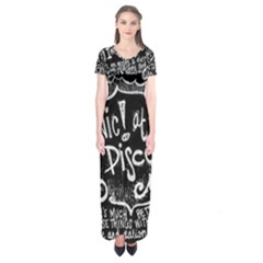 Panic ! At The Disco Lyric Quotes Short Sleeve Maxi Dress by Onesevenart