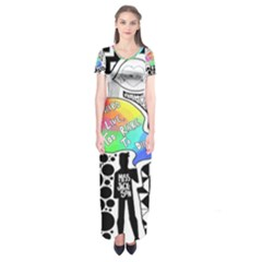 Panic ! At The Disco Short Sleeve Maxi Dress by Onesevenart