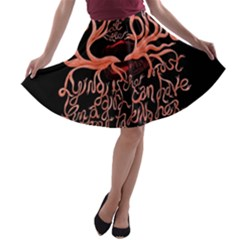 Panic At The Disco   Lying Is The Most Fun A Girl Have Without Taking Her Clothes A Line Skater Skirt by Onesevenart