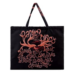Panic At The Disco   Lying Is The Most Fun A Girl Have Without Taking Her Clothes Zipper Large Tote Bag by Onesevenart