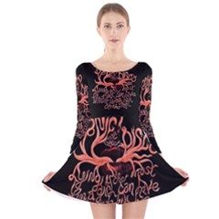 Panic At The Disco   Lying Is The Most Fun A Girl Have Without Taking Her Clothes Long Sleeve Velvet Skater Dress by Onesevenart
