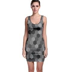 Camo Hexagons In Black And Grey Sleeveless Bodycon Dress