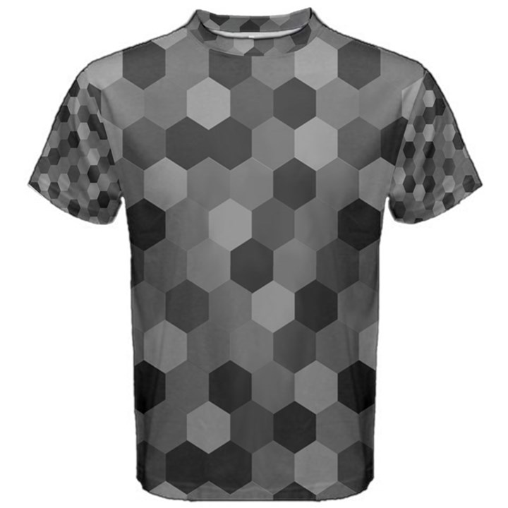 Camo Hexagons in Black and Grey Men s Cotton Tee